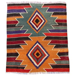 "Handmade Turkish Antalya Kilim Rug - 2'9"" X 3'3"""