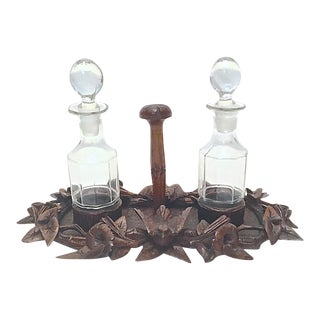 Antique Black Forest Condiment Caddy