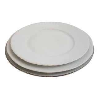 White Mismatched Porcelain Plates - set of 3