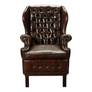 English Brown Leather Tufted Library Chair