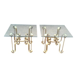 French Gilt Iron End Tables-A Pair