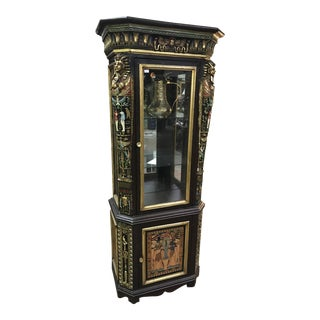 Unique Vintage Egytian Detailed Curio Cabinet