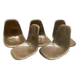 Brown Eames Fiberglass Chair Shells - Set of 5