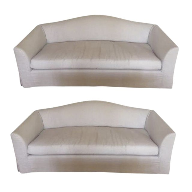 Restoration Hardware Belgian Linen Sofas A Pair Chairish