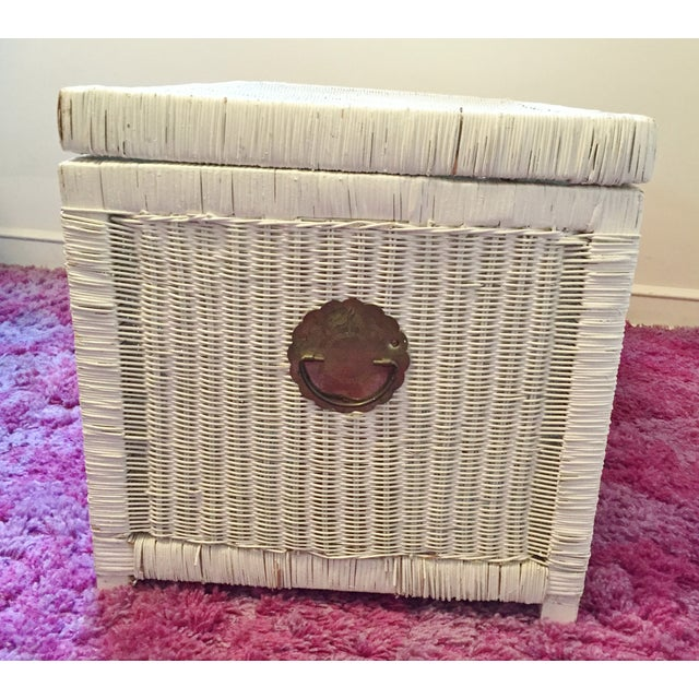 Image of Vintage White Wicker Trunk With Brass Hardware