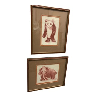 Conte Crayon Drawings - A Pair
