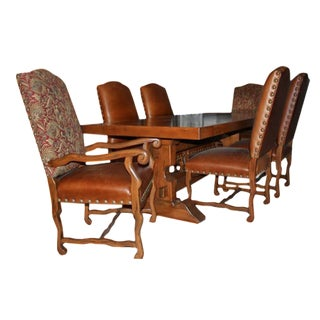 Pedestal Table & Mixed Fabric Chairs - Set of 7