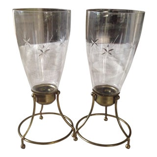 Vintage Brass & Glass Candle Holders - A Pair