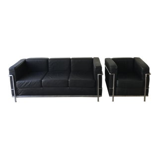 Le Corbusier Black Leather Sofa & Chair - A Pair