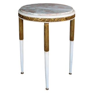 French Art Deco Gessoed & Parcel-Gilt Circular Table w/Norwegian-Rose Marble Top