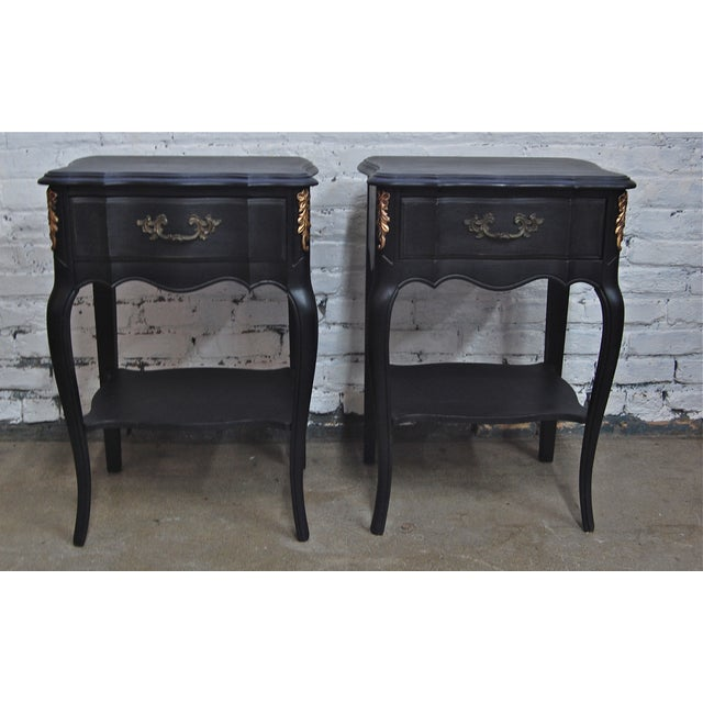 Image of Vintage French Black & Gold Nightstands - A Pair