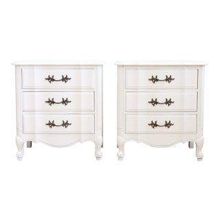 Thomasville Vintage Shabby Chic White Nightstands - A Pair