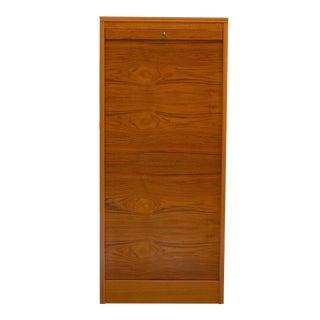 Danish Teak Tambour Door Filing Cabinet