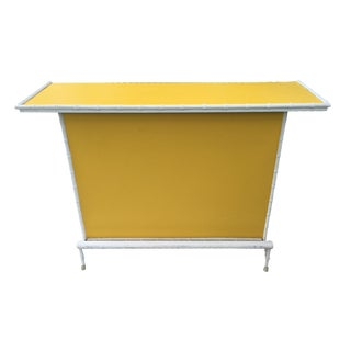 Hollywood Regency Yellow & White Bamboo Bar