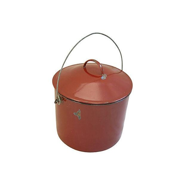 Vintage 1920s French Enameled Pail & Lid - Image 2 of 4