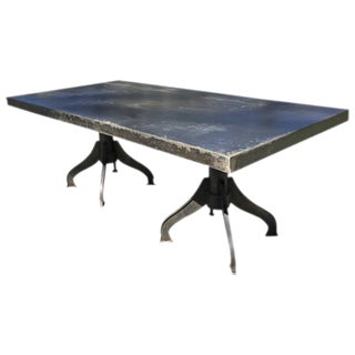 Industrial Steel Twin Pedestal Dining Table