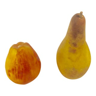 Italian Hand Painted Alabaster Fruits - a Pair