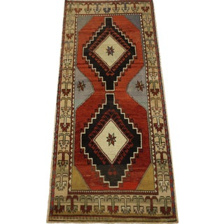 Vintage Turkish Oushak Rug - 3′2″ × 7′1″