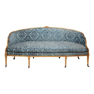 Adam Period Sofa with Carved Giltwood Frame and Blue Velvet Upholstery