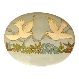 Vintage Lacquered Papier Mache White Dove Motif Box
