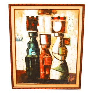 Mid-Century Modern Abstract Painting by Pujal