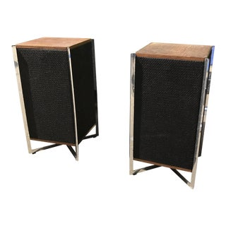 Mid-Century Wood & Chrome Speakers - A Pair