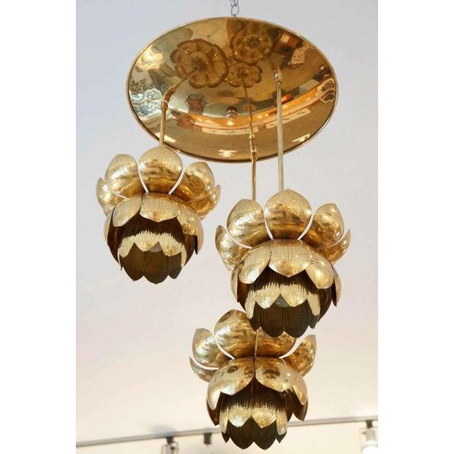 Triple Light Brass Lotus Pendant - Image 3 of 8
