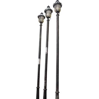 Vintage Street Lamp Poles & Sconces - Set of 3