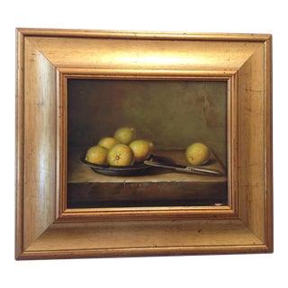 French Lemon Still Life Oil Painting