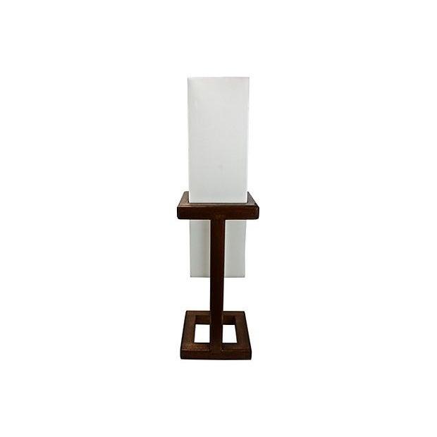 Mid-Century Large Scale Walnut & Acrylic Lamp - Image 1 of 7