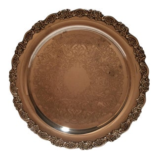 Vintage Oneida Traditional Style Silver Plate Round Tray