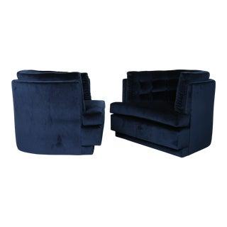 Tufted Swivel Club Chairs - A Pair