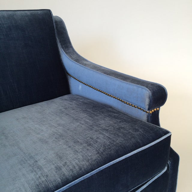 Mid-Century Blue Velvet Club Chairs - A Pair - Image 10 of 10