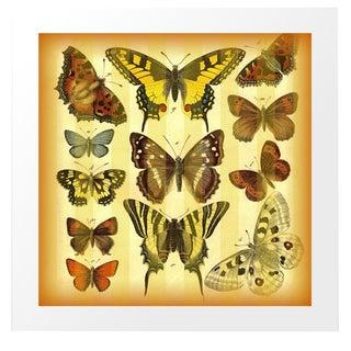 Vintage 'Butterflies on Stripes' Archival Print