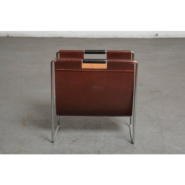 Mid-Century Leather and Chrome Magazine Stand - Image 2 of 9