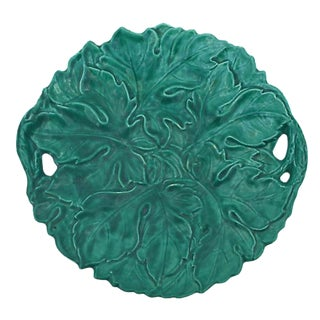 Antique French Green Majolica Large Handled Platter by Sarreguemines Digoin