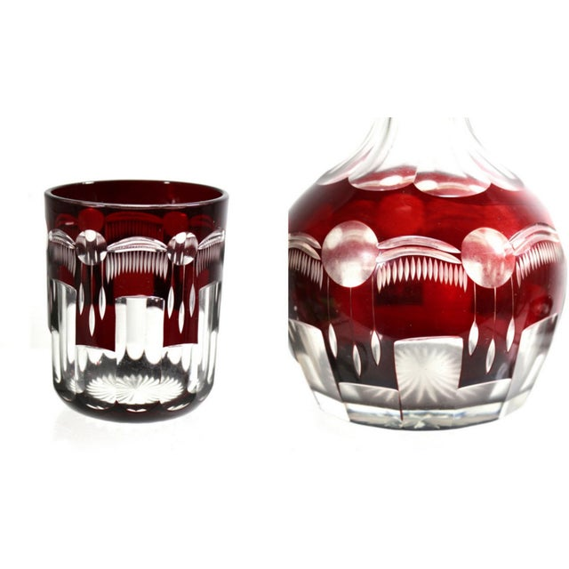 Image of 1880s Bedside Carafe & Tumbler in Cranberry Glass