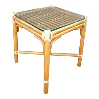 McGuire Bamboo & Glass End Table