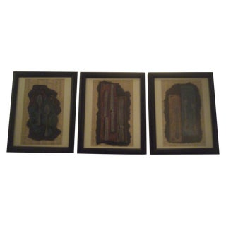 1996 Framed Oil Pastel Pieces - Set of 3