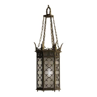 Gothic style bronze lantern with superb detail from Edwardian England c. 1910.