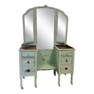 Antique Trifold Vanity & Mirror