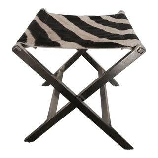 Zebra Skin & Chrome X Stool