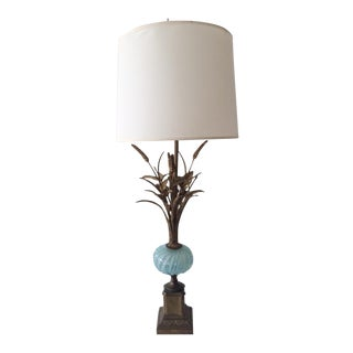 1960s Vintage Murano Sky Blue Glass and Gilt Metal Wheat Tolle Table Lamp