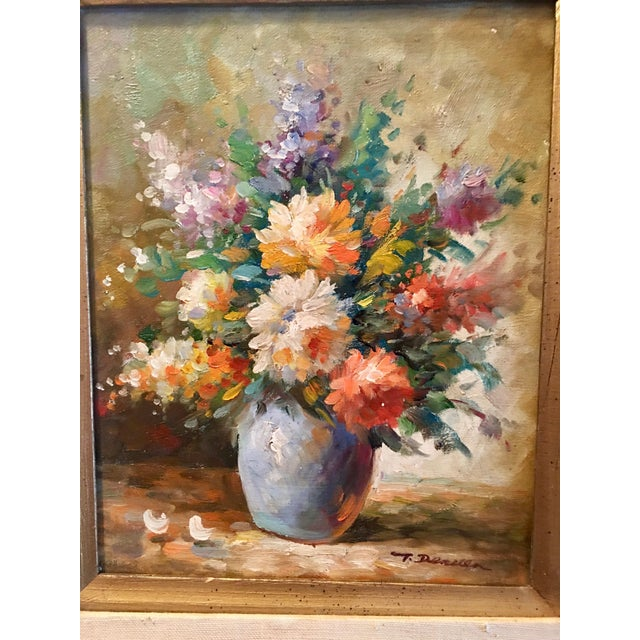 Floral Oil Painting of Dahlias & Other Flowers in a Blue Vase - Image 5 of 7