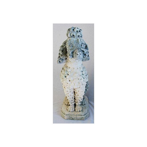 Image of Mid-Century Stone French Garden Poodle Statue