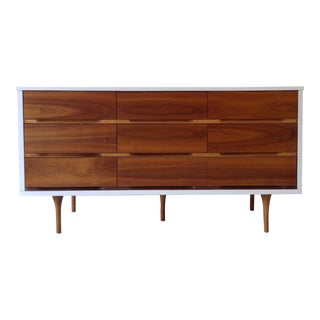 Mid-Century Modern 2-Toned Woodgrain and White Dresser