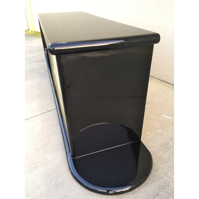 Curved Black Lacquer Credenza - Image 7 of 11