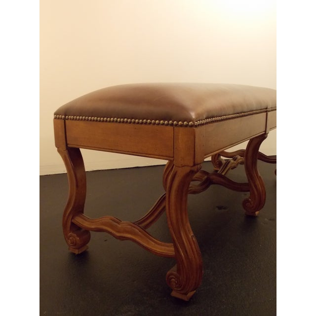 Wood and Leather Bench - Image 8 of 8