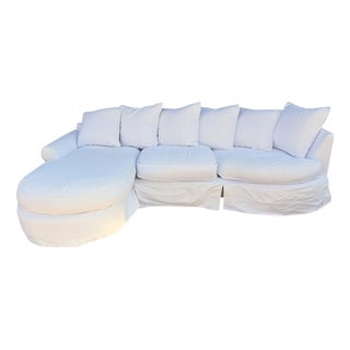 White Slipcovered Sofa with Chaise