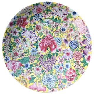 Vintage Chinese Porcelain Flower & Grapes Plate